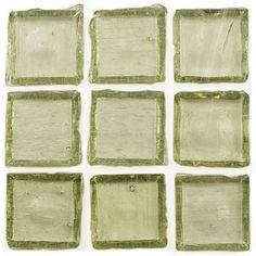 "Creative Decore  1"" x 1"" Translucent, 1"" x 1"", Light Olive, Glossy, Green, Glass"