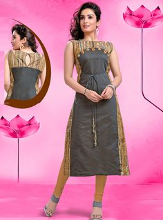 Precise splendor can come out from your dressing style and design with this Exquisite Applique Gray Color Flax Cotton Party Wear Ready Made Kurtis For Girl Churidar Designs, Kurta Designs Women, Silk Kurti Designs, Kurti Patterns, Dress Patterns, Dress Neck Designs, Blouse Designs, Lehenga Choli, Anarkali