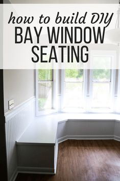 This gorgeous built-in bay window seating is a project you can totally do yourself – it& perfect for dining room seating or a bay window in a living room! Here are all the details on how to build DIY banquette seating for your bay window. Diy Bench Seat, Storage Bench Seating, Banquette Seating, Diy Interior, Interior Design, Diy Bay Windows, Bay Window Benches, Window Seats, Dining Room Windows