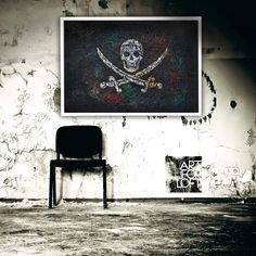 Flag of Pirates. Hand painted wall decor.