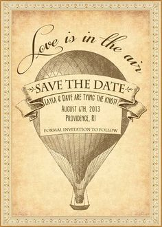 Vivian - Vintage Victorian Steampunk Hot Air Balloon Travel Postcard - Printable DIY Wedding Save the Date Cards - Customized