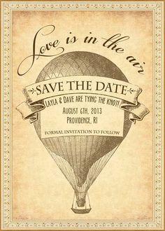 Vivian - Vintage Victorian Steampunk Hot Air Balloon Travel Postcard - Printable DIY Wedding Save the Date Cards - Customized