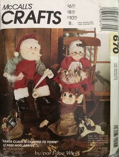 Craft Patterns, Vintage Patterns, Santas Vintage, Christmas Holidays, Christmas Decorations, Christmas Couple, Elf Doll, Santa Claus Is Coming To Town, Mrs Claus
