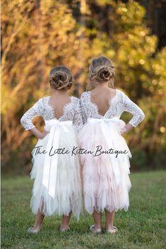 4ace4de3194ac Blush pink tulle flower girl dress, White lace flower girl dress, Rustic flower  girl dress, Ivory Boho flower girl dress, Toddler dress tutu