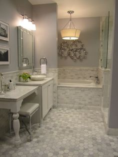 Kirsty Froelich: The Tile Shop - Kirsty Froelich - Hampton Carrara marble bathroom, accents from Z gallerie:
