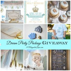 A Royal First Birthday Celebration fit for a king and his royal court.  Light Blue, Aqua, White and Gold make this royal event perfect for a baby boy (or girl).  Plus a Dream Party Package Giveaway (April 15-22)!