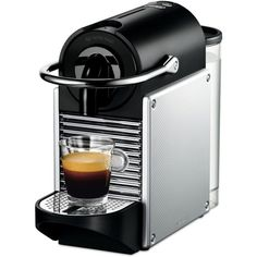 De'Longhi Nespresso Pixie Espresso Machine ($172) ❤ liked on Polyvore featuring home, kitchen & dining, small appliances, aluminum, nespresso, espresso machine, espresso makers, nespresso cappuccino machine and nespresso espresso machine