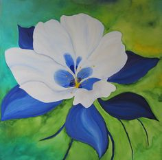 COlumbine  Colorado State Flower  original acrylic by bellakoolla, $500.00