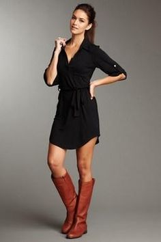 shirt dress and boots