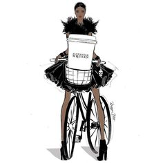 She rode her bicycle to pick up her giant @alexandermcqueen coffee! Because thats what you do! @meganhess_official #MeganHessCoffeeGirls #meganhess #coffee #tea #alexandermcqueen #bike #hautecouture #luxury