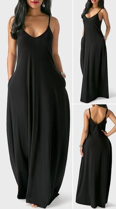 Sleeveless Open Back Black Maxi Dress Maxi Outfits, Chic Outfits, Fashion Outfits, Pretty Dresses, Sexy Dresses, Beautiful Dresses, Summer Dresses, Party Dress Sale, Club Party Dresses
