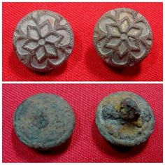 Excellent condition, excavated, pair of Confederate used, floral kepi buttons. This is literally all that remained of a Confederate kepi recovered on private property out of the Camp of Wharton's Texas Rangers. The buttons are beautifully gilted.