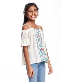 Off-the-Shoulder Embroidered Top for Girls