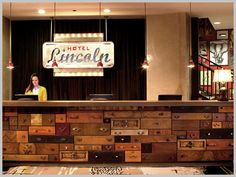 Vintage drawers #repurposed at Hotel Lincoln's front desk, Chicago.