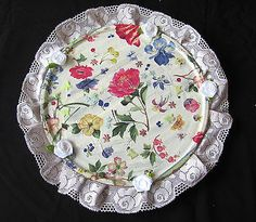 HANDMADE ROMANTIC  DECORATIVE GLASS PLATE ACRYL MULTI COLORS LACE+FABRIC FLOWERS