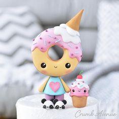 Fimo Kawaii, Polymer Clay Kawaii, Polymer Clay Crafts, Polymer Clay Sweets, Clay Crafts For Kids, Fun Crafts, Crea Fimo, Fondant Cake Toppers, Fondant Cupcakes