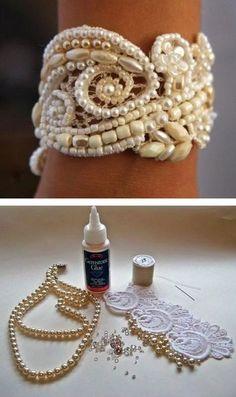 brazalete con cuentas de perlas
