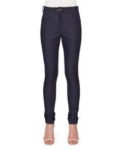 VICTORIA BECKHAM High-Waist Skinny-Leg Denim Jeans, Indigo. #victoriabeckham #cloth #