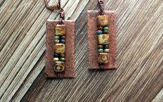 Czechmates Tile Bead with Picasso Seed Bead Earrings On Copper, bohemian earrings, boho earrings, hippie earrings, copper earrings, bohemian