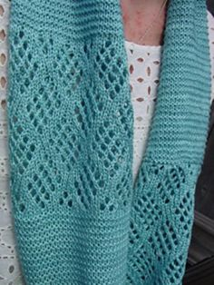 Blue Glacier Cowl free knitting pattern by Jo Strong with diamond checkerboard…