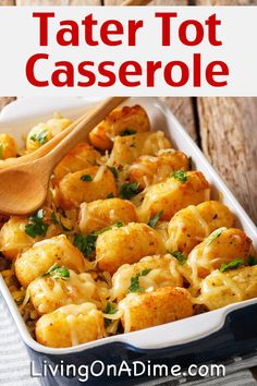 This easy tater tot casserole recipe is an easy and delicious meal that families with kids really love! Tater tot casserole is a traditional comfort food that can easily be a one dish meal and it's a great way to use leftover vegetables and hamburger! Quick Hamburger Recipes, Quick Crockpot Meals, Quick Vegetarian Meals, Quick Weeknight Meals, Quick Healthy Meals, Quick Dinner Recipes, Whole 30 Recipes, Crockpot Recipes, Easy Meals