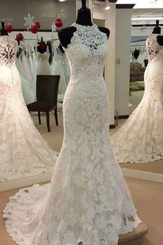 Sexy Halter Mermaid Sleeveless Lace Wedding Dress #weddingdress