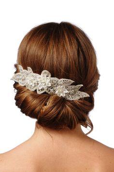 JENNIFER bridal comb rhinestone crystal veil por UntamedPetals
