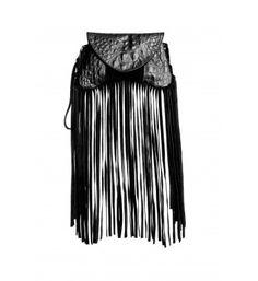Micro clutch bag with croc print pu leather and long suede fringes on outline.  http://shop.mangano.com/en/bags/16433-borsa-florance-bag-frang-ne.html  #fashion #bag