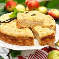Äppelfylld vaniljkaka med smuldeg