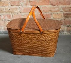 Vintage Woven Picnic Basket with Hinged Lid by CircaCollectibles, $26.99