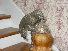 Newel post lighting, so cute! In 1878 Italianate – Danville, VA Vintage Light Fixtures, Vintage Lighting, Newel Posts, Victorian Interiors, Bird Theme, Old House Dreams, Staircases, Beautiful Homes, New Homes