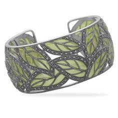 marcasite and green epoxy cuff bracelet $299 #beckhhamdesigns