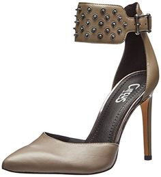 f96309057779a8 Circus by Sam Edelman Women's Maia Dress Pump, Sharkskin, M US. Pointed-toe  pump featuring wide ankle strap with allover studs.