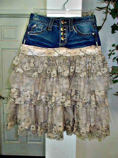 63d320367f Ruffled Lace jean skirt upcycled denim beige tulle rose metallic lace  French lace vintage fairy goddess bohemian Renaissance Denim Couture