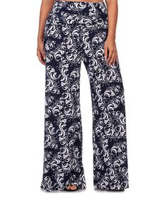 Love this Navy Damask Palazzo Pants - Plus on #zulily! #zulilyfinds