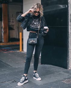 Pin by maddie on clothes (: fashion, converse shoes outfit, Edgy Outfits, Cute Casual Outfits, Fall Outfits, Fashion Outfits, Casual Clothes, Fall Fashion, Summer Outfits, Fashion Top, Fashion Edgy