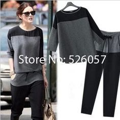 Free Shipping 2014 New Arrival Chiffon Set Woamn  Loose Bat Sleeve T-Shirt Female Leisure Suit Two Piece Suit Women's Clothing US $24.68