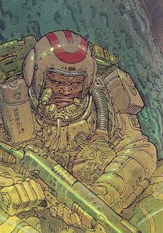 Love this armed-to-the-teeth spaceman by Moebius. Geiger feel to it, like some kind of space desert mercenary. Great colours and as ever gorgeous lines and treatment. Jean Giraud Moebius, Moebius Art, Comic Book Artists, Comic Artist, Comic Books Art, Arte Sci Fi, Sci Fi Art, Illustrations, Illustration Art