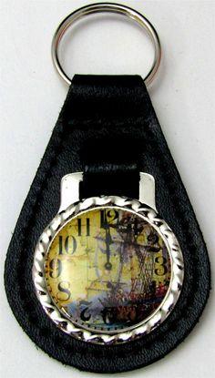Clock Face Vintage Blue Stripe Ship Black Leather Key Fob FOB-0150