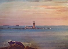 ARNOLD NELSON ANDERSON LISTED LIGHTHOUSE MAINE 1932 WATERCOLOR SIGNED