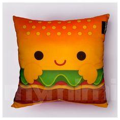 12 x 12 Hamburger Pillow Stuffed Toy Kids Room Decor by mymimi, $21.00