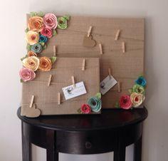 Cork board. Message board. Note board. Burlap shabby chic flowers. by kC2Designs on Etsy https://www.etsy.com/listing/196637377/cork-board-message-board-note-board
