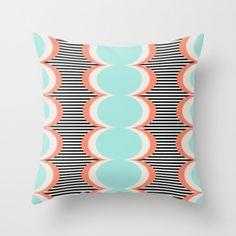 Mint Pillow Cover, Coral Throw Pillow, Minimalist Graphic Pillow,Abstract Pattern Pillow, Circles Pillow, Black Stripes Pillow, Scandinavian
