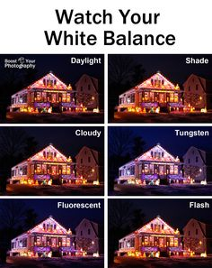 How to Photograph Outdoor Holiday Lights - watch your white balance Boost Your Photography Dslr Photography Tips, Christmas Photography, Photoshop Photography, Outdoor Photography, Light Photography, Photography Tutorials, Winter Photography, Film Photography, Street Photography