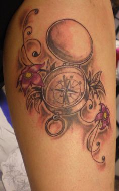 Nice compass, I like the delicate flowers - room for a message in there somewhere
