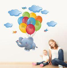 Kids Room Murals, Murals For Kids, Art Wall Kids, Nursery Wall Art, Girl Nursery, Elephant Nursery, Elephant Fabric, Paintings For Kids Room, Flying Elephant