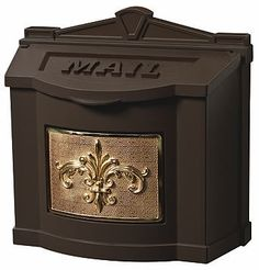 Gaines Fleur De Lis WallMount Mailbox Bronze/Polished Brass by Gaines. $219.79. Finished with a starte of the art five-step Powder Coat paint process.. Mailbox lid will stay in the upright position and close softly on pades for quiet operation.. Front plate of the mailbox is Satin Nickel finish Aluminum, Polished Brass, Antique Bronzed Brass, or Powder-Coat Aluminum.. Mounting hardware is included with installation instructions and a template.. Solid die-cast aircraft grade A360 ...