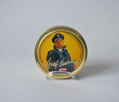 Vintage German tin box tobacco tin jar caddy 70s decor canister can home decor container Mid Century blue yellow gold