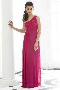 Ruched Column One Shoulder Floor Length Chiffon Long Bridesmaid Dress $118