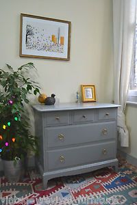 Vintage Grey Shabby Chic Stag Minstrel Chest of Drawers Painted Farrow and Ball | eBay